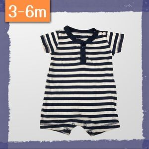 Navy and White Striped Cotton Romper